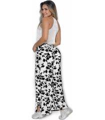 pantalón ancho estampado blanco y negro flores marca trucco's