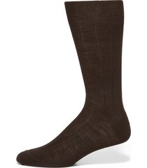 saks fifth avenue made in italy men's wide ribbed merino wool dress socks - black