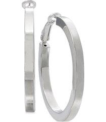 square-edge polished hoop earrings in sterling silver