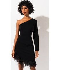 akira out all night one sleeve feather trim mini dress