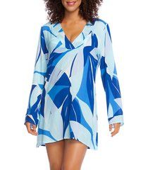 palm reader-print v-neck coverup