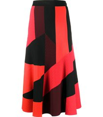 alexander mcqueen panelled mid-length skirt - red