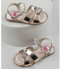 sandália infantil molekinha com glitter e tira metalizada rosê
