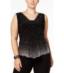 msk plus size embellished blouse