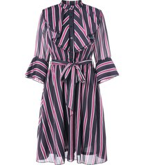 flare sleeve belted vertical stripe dress