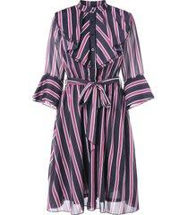 flare sleeve belted vertical stripe dress