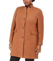 dkny plus size stand-collar coat, created for macy's