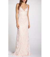 women's tadashi shoji lace applique tulle wedding dress, size 6 - ivory