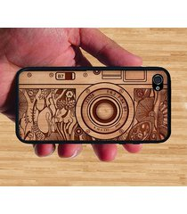 vintage old camera on wood carved iphone case rubber silicone iphone 4 / 4s case