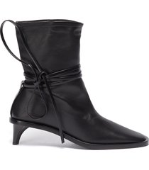 structure heel ankle wrap tie boots