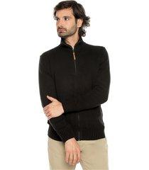 sweater negro 1 preppy m/l c/alto abierto cremallera tej medio