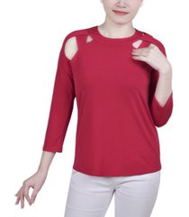 ny collection petite cutout top