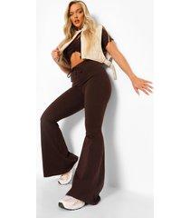 katoenen jersey broek met wijd uitlopende pijpen en strik, chocolate