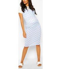 maternity polka dot 2 in 1 bodycon dress, pale blue