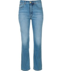 high waist straight fit jeans river  blauw