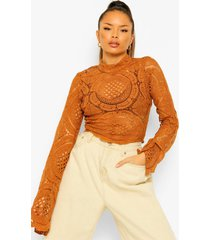 gehaakte kanten crop top met turtle neck, camel
