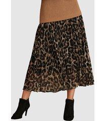 leopardmönstrad kjol mona ljusbrun::brun::svart