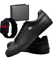 sapatênis sapato casual com carteira e relógio led dubuy t10db preto