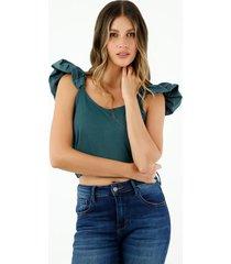 crop top de mujer, con mangas sobredimensionadas, color verde petróleo.