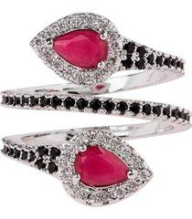 anel snake the ring boutique pedra cristal vermelho rubi ródio ouro branco