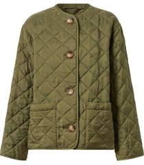 olive green logo quilted jacket