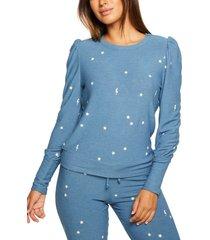 women's chaser puff shoulder cozy knit sweatshirt, size x-large - blue