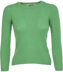pink memories green cashmere sweater