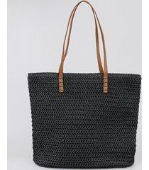bolsa feminina shopper grande em palha preta