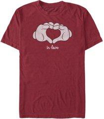 men's mickey classic glove heart short sleeve t-shirt