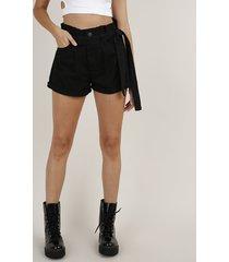short de sarja feminino clochard cintura super alta com faixa para amarrar preto