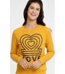 blusão feminino moletom coração manga longa marisa