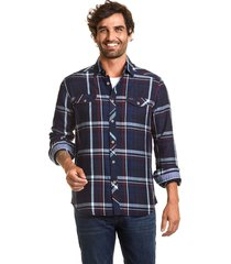 camisa manga larga checkered indigo azul ferouch