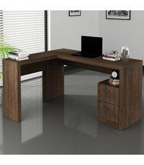mesa para escritório 2 gavetas rútico me4129- tecno mobili