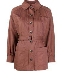 yves saint laurent pre-owned cutaway collar jacket - brown