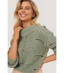 na-kd trend stickad tröja med vågigt mönster - green