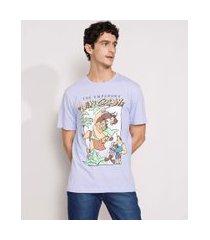 camiseta masculina manga curta a nova onda do imperador gola careca lilás