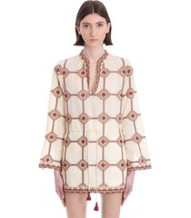 tory burch blouse in beige linen
