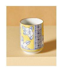 vaso leshan de porcelana pintado à mão cor: amarelo - tamanho: único