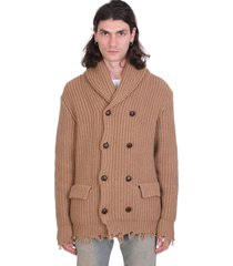 alanui coat in leather color wool
