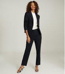reiss hayes - wool blend cropped blazer in navy, womens, size 12
