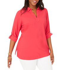 plus size women's foxcroft addie split neck tunic