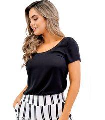 blusa en chifón manga corta negra unipunto 32375