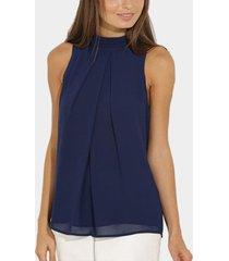 azul marino high cuello camiseta sin mangas de gasa plisada con espalda abierta