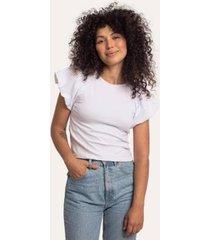 camiseta mangas bufantes em cotton cora básico feminina - feminino