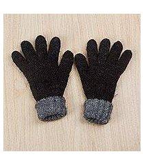 100% alpaca reversible gloves, 'black smoke' (peru)