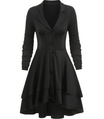 button up lace-up back high low layered skirted coat