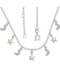 gargantilha prata mil com estrelas e luas com alongador 5cm prata
