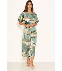 ax paris women's duck egg floral print culotte jumpsuit