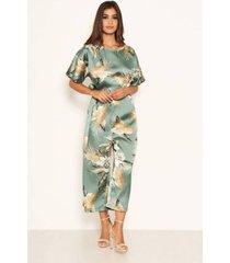 ax paris women's duck egg floral print culotte jumpsuit
