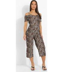 luipaardprint cullotte jumpsuit met uitgesneden schouders, brown